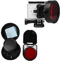 Hzjundasi 58mm Primer Plano Lente 16X Ampliación para Xiaomi Yi 2 4K Action Cámara, HD Macro de Primer Plano Filtro Lente 16X Ampliación + Rojo Filtro Accesorios