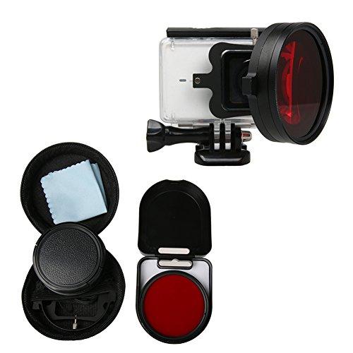 Haodasi 58mm Nahaufnahme Makro Objektiv 16X Vergrößerung für Xiaomi Yi 2 4K Action Kamera, HD Nahaufnahme Filter 16X Vergrößerung + RotFilter Kamera Zubehör Red-kamera-filter