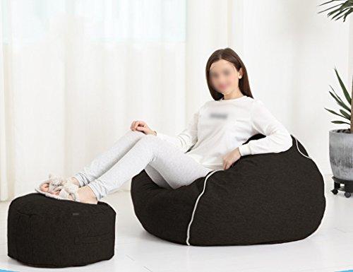 2 Pièces Haricot Sac Repose-pieds Canapé Canapé Chambre Salon Chaise Unique Amovible Lavable 80 * 90 cm (Couleur : Noir)