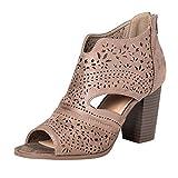 Zapatos de tacón, 2019 Sandalias Romanas para Mujer, Botines De Tacón Alto Ancho De Vestir Hollow Zapato Solo Peep-Toe De Boda Fiesta con Cremallera Zapatillas De Verano Primavera Mocasines (35-43)