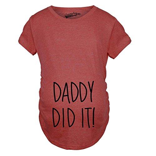 Crazy Dog Tshirts Maternity Daddy Did It Tshirt Funny Pregnancy Announcment Tee (Heather Red) -XXL - Damen - XXL