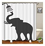 XIAOXINYUAN Elephant Polyester Duschvorhang Digitaldruck Wasserdicht und Schimmel Bad Vorhang Zubehör 90×180Cm