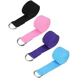 Willbond 4 Piezas Correa de Yoga Banda de Estiramiento de D-Anillo Cinta de Yoga Ajustable de Cintura Pierna para Pilates Estiramiento Yoga Ejercicios, 4 Colores