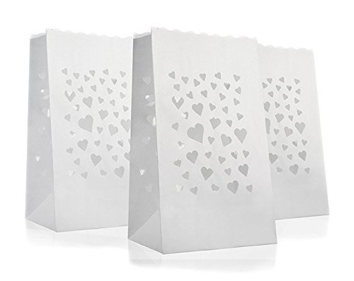 10 x Lichtertüten Windlicht Lichttüte Lichtüten Lichtertüte mit Herz Herzmotiv