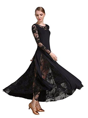z Waltz National Standard Tango Ballroom Kleid One Piece Kostüme (M, Schwarz) (Swing Ballroom Tanz Kostüme)