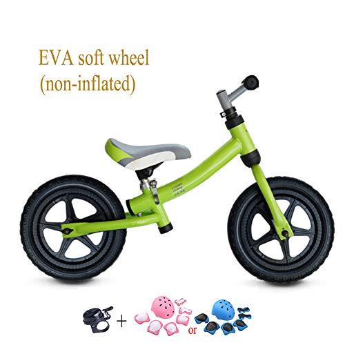 GSDZN - Kinder Laufrad Lernlaufrad Balance Bike, Rahmen Aus Carbonstahl, Mit Handbremse, Verstellbarer Lenker, Sitzhöhe Und Standfuß, 2-6 Jahre Alt, 80-120 cm,Green-EVAwheel