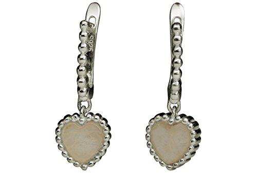 Rosenquarz Ohrringe Creolen (SILBERMOOS Damen Herz Ohrringe im Creolen-Stil mit Edelstein Rosenquarz 925 Sterling Silber)