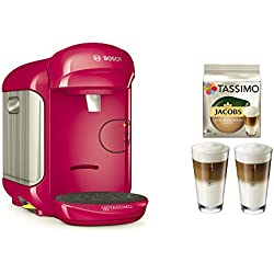Bosch TASSIMO Vivy 2 Bundle + Latte Macchiato Gläser Set + TDisc Latte Macchiato (Pink) Bosch Tassimo