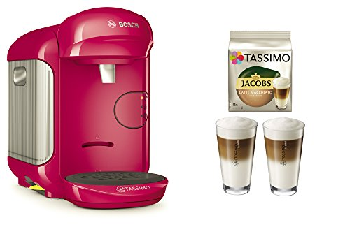 Bosch TASSIMO Vivy 2 Bundle + Latte Macchiato Gläser Set + TDisc Latte Macchiato (Pink)