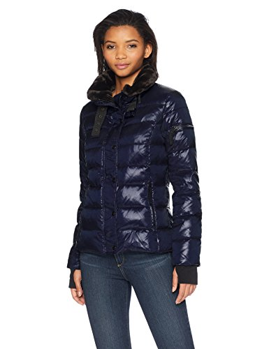 Unbekannt S13 Damen Mercer Hip Length Down Puffer with Faux Fur Trim Daunenmantel, Navy, Klein Trim Down Jacke