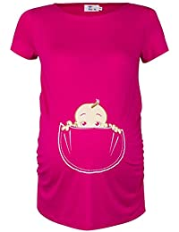 Happy Mama. Para Mujer Camiseta premamá T-Shirt estampado bebé en bolsillo. 501p