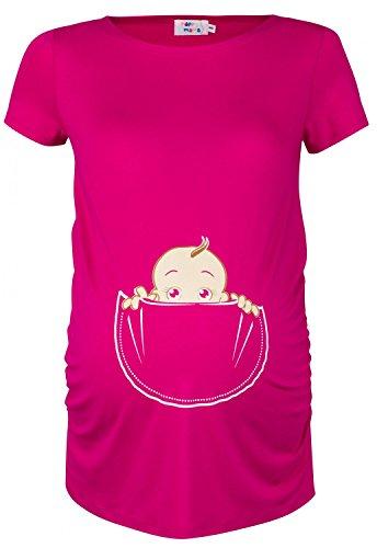 Happy Mama. Para Mujer Camiseta premamá T-Shirt estampado bebé en bolsillo. 501p (Fucsia, EU 38/40, M)