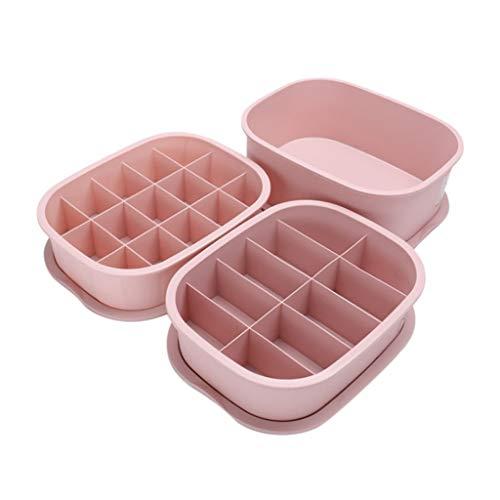 Kleiderschrank Boxen Unterwäsche Socken Aufbewahrungsbox dreiteilige Kunststofffächer können gestapelt werden Kunststoff einfarbig(Rosa,free)