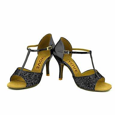 Scarpe da ballo-Personalizzabile-Da donna-Balli latino-americani Salsa-Tacco su misura-Brillantini-Nero Rosso Argento Dorato Gold