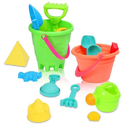 ThinkMax 27 Stück Strand Spielzeug Set, Seaside Sand Castle Eimer Spaten Schaufel Rechen Spielset, Sommer im Freien Modell Tool Kit für Kinder und Kinder