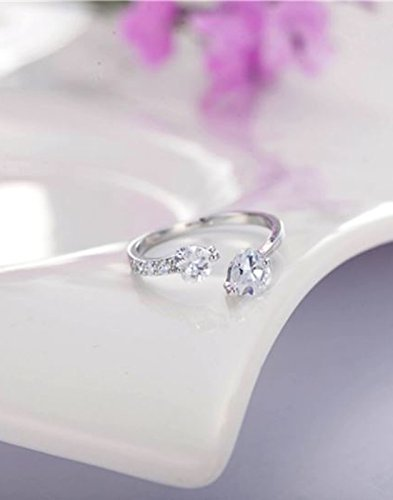 Karatcart Platinum Plated Trendy Elegant Austrian Crystal Heart Cut Adjustable Ring For Women