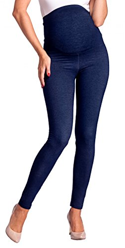 Zeta Ville -Umstandsmode Leggings Hose Elastische Bund Denim-Look - Damen - 948c (Marine Jeans, EU 42/44, 3XL)