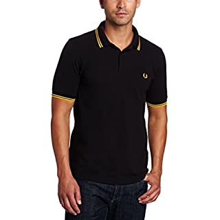 Fred Perry Men's M3600-B43 Polo, Black/Bright Yellow, L