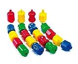 Verbindungselemente Ketten - Formen, 32 Elemente in 4 Formen und Farben, fördert die Feinmotorik, ideal für Kleinkinder, abwaschbar - Kindergarten Krippe Spielzeug Fördermaterial Kognition Stecken