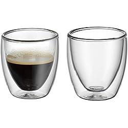 WMF Kult doppelwandige Espressogläser-Set, 2-teilig, Thermoglas, hitzebeständig, spülmaschinengeeignet, V 80 ml, H 6,5 cm