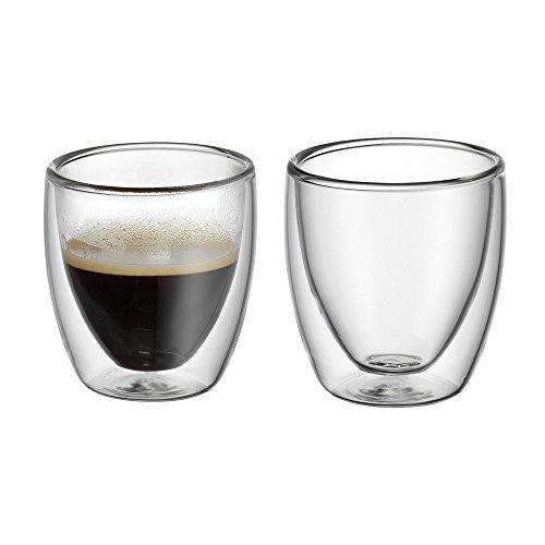 (WMF Kult doppelwandige Espressogläser-Set, 2-teilig, H 6,5 cm, V 80 ml, Thermoglas, hitzebeständig, spülmaschinengeeignet)