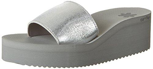 flip*flop Damen Pool Wedge Metallic Plateausandalen Silber (Silver)