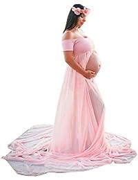 ESAILQ Robe de Grossesse,Femmes Enceintes Soutien-gorge en Mousseline de Soie Longue Robe Accessoires de Mode de Maternité