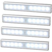 JESWELL Lámpara LED del Armario Barra de Luz LED Nocturna Inalámbrica con Sensor de Movimiento Wireless para Pasillo Baño Armario Cocina, Operada por Baterías, Blanco Frío - Versión mejorada (4 Unidades)