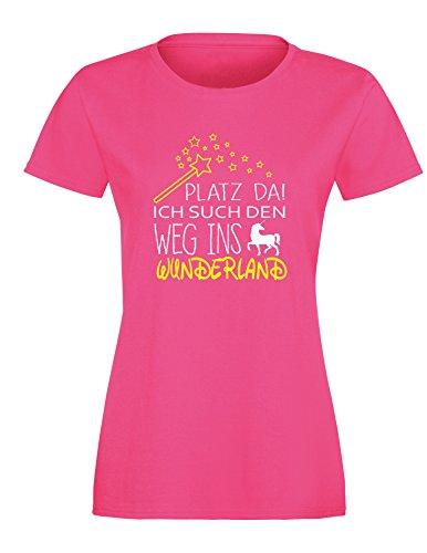 Platz da - Ich such den weg ins Wunderland Einhorn - Damen Rundhals T-Shirt Fuchsia/Weiss-neongelb