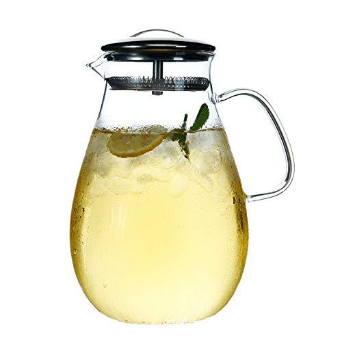 Glas-Wasserflasche 1900 ml - Top-Sicherheit - hitzebeständiges Borosilikat - großer Krug - Teekanne - Wasserkocher - Heiß- und Eistee, Saftgetränk Pot 2 Double Cup