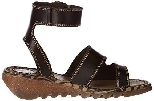 FLY London Tily722, Sandales Bride Cheville Femme Noir (Black 000)
