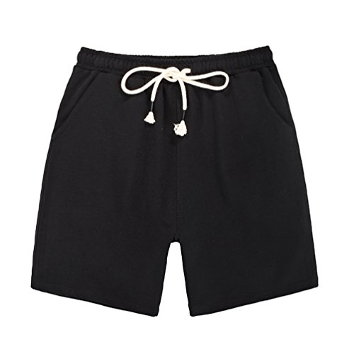 Dooxi Damen Casual Lose Gerade Shorts Sommer Bermuda Stretch Drawstring Kurze Hosen Schwarz 2XL (Drawstring Shorts Baseball)