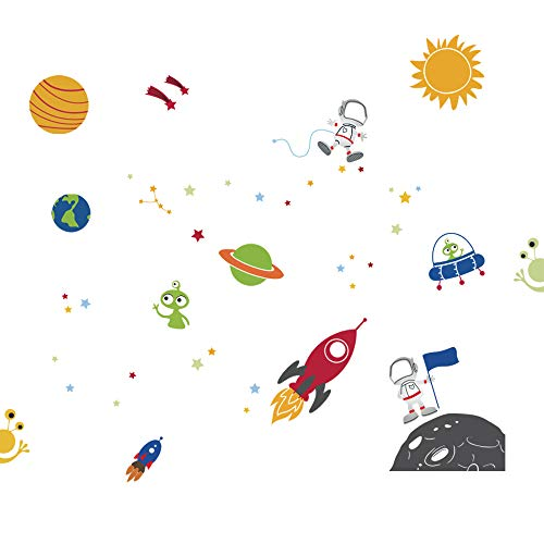 decalmile Espacio Exterior Estrellas Planetas Pegatinas de Pared Vinilos Decorativos Habitación Infantiles Guardería Niños Bebés Dormitorios