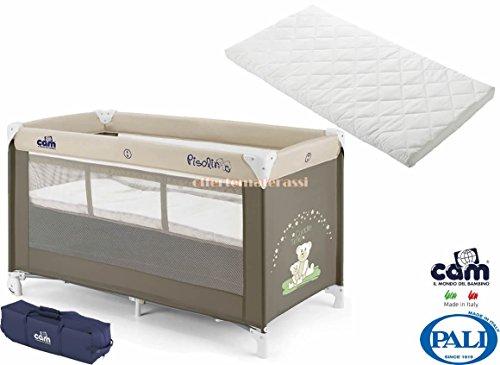 Lettino CAM Pisolino beige borsa viaggio campeggio + Pali Camping materassino