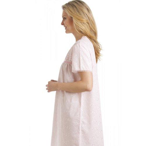 Damen Nachthemd - kurzärmelig - mit Blümchen-Stickereien - Rosa - Größen 38-52 Pink