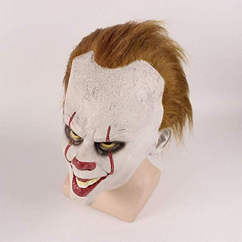 Clown Scary Verkauf Kostüm Zum - MU Masquerade Creepy Scary Halloween Cosplay Kostüm Maske Latex Horror für Unisex Erwachsene Party Dekoration Requisiten Ghost Devil Dancing Head Cover,Clown, der Seele zurückbringt