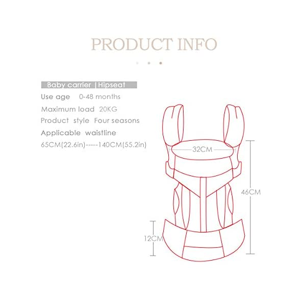 SONARIN Premium Convertible Baby Carrier with Storage Bag,Sunscreen Hood,Ergonomic,for Newborn to Toddler(0-48 Months),Head Support,Maximum Load 20kg,Front Facing Baby Carrier(Blue) SONARIN Applicable age and Weight:0-48months of baby, the maximum load:20KG, and adjustable the waist size can be up to 55.2 inches (about 140 cm). Material:designers carefully selected soft and delicate 100% Cotton fabric.The inner is made of skin-friendly breathable material,Soft machine wash,do not fade,ensure the comfort and breathability,high strength,safe and no deformation,to the baby comfortable and safe experience. Description:Patented design of the auxiliary spine micro-C structure and leg opening design,natural M-type sitting.Adjustable back panel that grows with baby and offers head and neck support with sleeping hood that provides UV50+ sun protection. 6