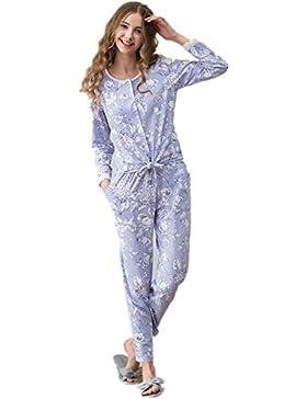 DMMSS Abito cotone sottile pizzo manica lunga ladies che pigiama set m l XL , xl