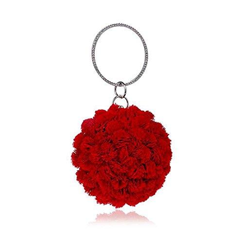 NAOMIIII Damen Blumen Clutch Bag Damen Party Abend Braut Prom Hochzeit Umhängetasche Red