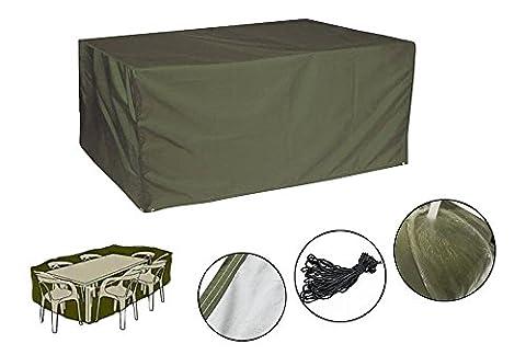 Sunray Housse de Protection pour Table de Jardin, Grande Couverture Étanche Extérieur Anti-Poussière En Tissu Oxford Vert Foncé, 270 x 180 x 89 CM