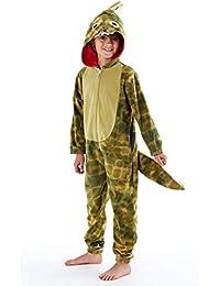 Enfants Dragon Queue Combinaison en Polaire Pyjamas Tout-en-Un Vert Âge 5-13 Ans