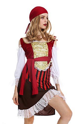 tüm Damen Frauen Karneval Halloween Piratin Piratenbraut Seeräuberin Gr. M ()