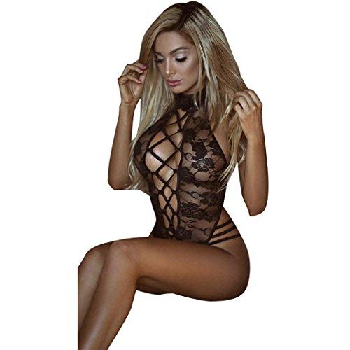 Beikoard Sexy Dessous, Mode sexy Kleidung Gitter Kostüm Kurze Top Bowknot Plus Size Uniformen Hosenträger Rock Temptation Unterwäsche-Set (Schwarz, ()