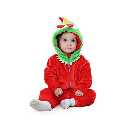 ampler Winter Mit Kapuze Strampelhöschen Tier Flanell Warm Overall fürs Kleinkind (Hahn, 90) (Niedlichen Tier Halloween Kostüme Ideen)