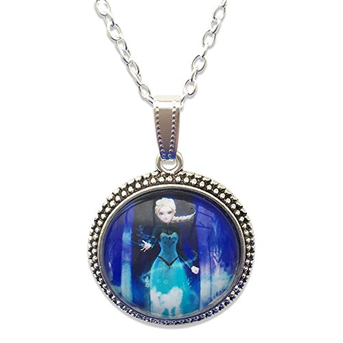 Prinzessin Elsa Glas Cabochon AnhŠnger Halskette (Kleider Elsa Eingefroren)