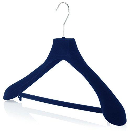 Hangerworld 10 Samt beflockte 45cm Kleiderbügel mit breiten Armen Dunkel Blau Antirutsch Hosensteg -