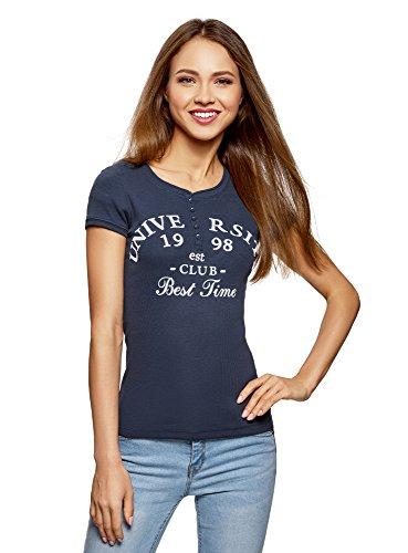 oodji Ultra Damen T-Shirt Basic Slim Fit mit Schriftzug, Blau, DE 34 / EU 36 / XS