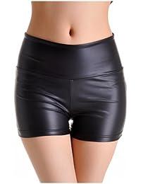 Amurleopard mini short en simili-cuir femme pantalons courts