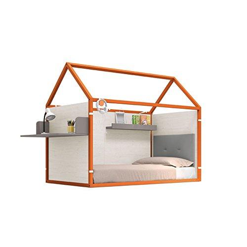 Möbel Ros Bett Haus Lackiert mit Schreibtisch und Einem Regal-158,5x 202x 102cm-Kürbis/Eiche -
