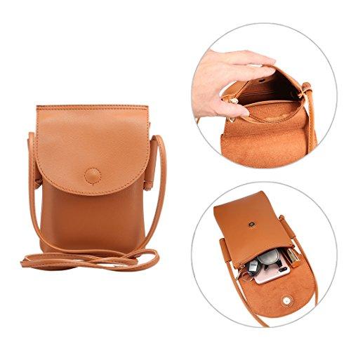 Umhängetasche Damen Kleine, Phone Tasche Rosa Schleife Mode Praktische Leder Handy Tasche Mädchen Geldbörse Kleine Schultertasche mit Vielen Fächern fit für Alle Smartphone unter 6.5 Zoll